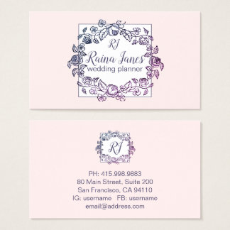 Floral Wreath Monogram Pale Pink Wedding Planner Business Card