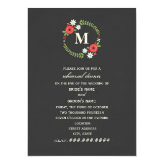 Floral Wreath Monogram Rehearsal Dinner 5.5x7.5 Paper Invitation Card
