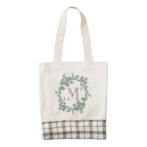 Floral Wreath Monogram Zazzle HEART Tote Bag