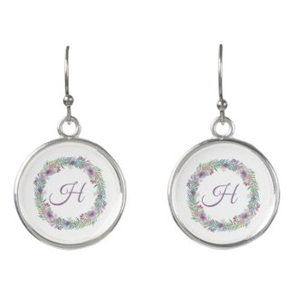 Floral Wreath Monogrammed Personalized Earrings