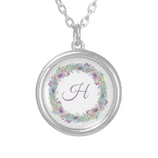 Floral Wreath Monogrammed Personalized Silver Plated Necklace