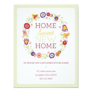 "Floral Wreath Moving Announcement 4.25"" X 5.5"" Invitation Card"