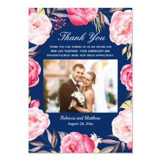 Floral Wreath Navy Blue Photo Wedding Thank You Card