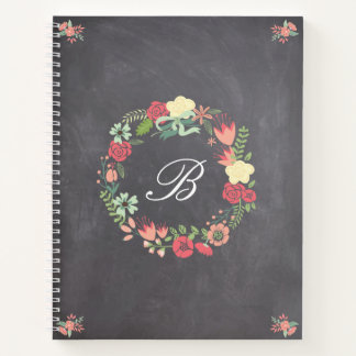 Floral Wreath on Chalkboard Monogram Notebook