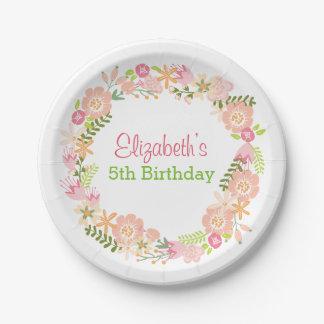 Floral Wreath paper plates