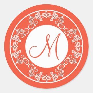Floral Wreath Pattern|Orange Monogrammed Sticker