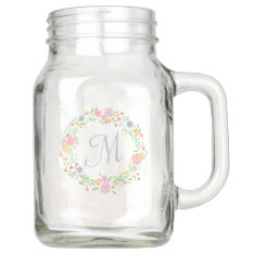 Floral Wreath Personalized Monogram Bridesmaid Mason Jar at Zazzle