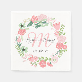 Floral Wreath Personalized Wedding Paper Napkins