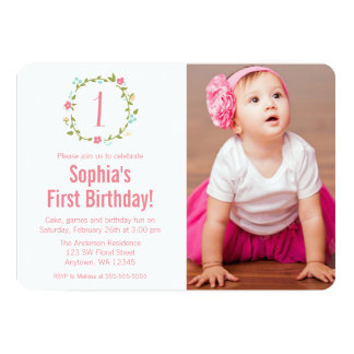 Floral Wreath Photo Girl 1st Birthday 5x7 Paper Invitation Card