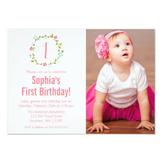 "Floral Wreath Photo Girl 1st Birthday 5"" X 7"" Invitation Card"