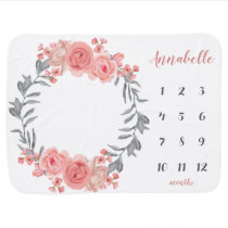 Floral Wreath Pink Blush Rose Baby Milestone Photo Baby Blanket