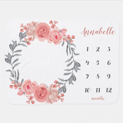 Floral Wreath Pink Blush Rose Baby Milestone Photo Baby Blanket