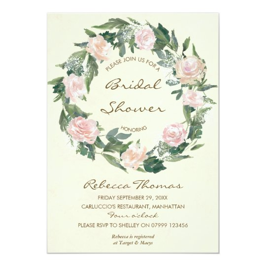 490209382738 floral wreath pink roses bridal shower invitation
