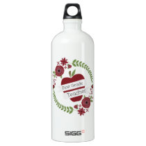 Floral Wreath Red Apple First Grade Teacher Aluminum Water Bottle