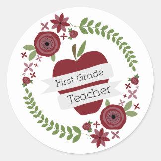 Floral Wreath Red Apple First Grade Teacher Classic Round Sticker