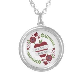 Floral Wreath Red Apple First Grade Teacher Necklaces