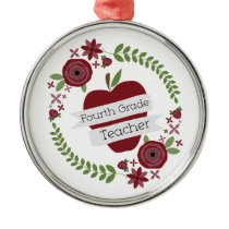 Floral Wreath & Red Apple Fourth Grade Teacher Metal Ornament