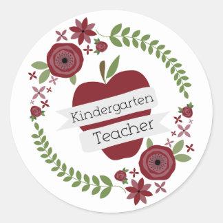 Floral Wreath Red Apple Kindergarten Teacher Round Stickers