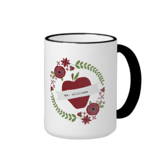 Floral Wreath Red Apple Personalized Teacher Ringer Mug