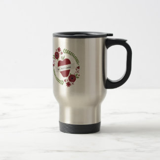 Floral Wreath Red Apple Personalized Teacher Travel Mug
