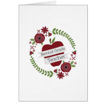 Floral Wreath Red Apple Second Grade Teacher Card