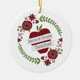 Floral Wreath Red Apple Second Grade Teacher Ceramic Ornament