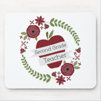 Floral Wreath Red Apple Second Grade Teacher Mouse Pad