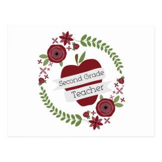 Floral Wreath Red Apple Second Grade Teacher Postcard