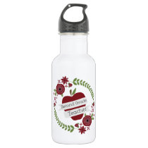 Floral Wreath Red Apple Second Grade Teacher Stainless Steel Water Bottle