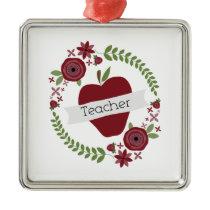 Floral Wreath & Red Apple Teacher Metal Ornament