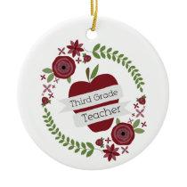 Floral Wreath Red Apple Third Grade Teacher Ceramic Ornament