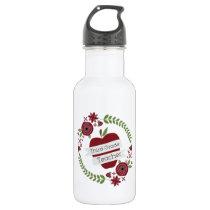 Floral Wreath Red Apple Third Grade Teacher Water Bottle