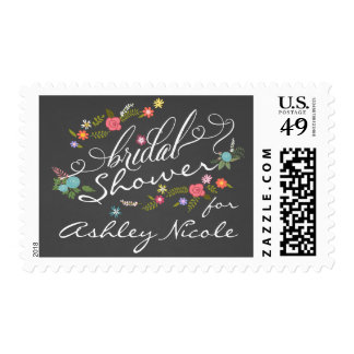 Floral Wreath Rustic Chalkboard Bridal Shower Postage