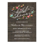 "Floral Wreath Rustic Wood Bridal Shower Invites 4.5"" X 6.25"" Invitation Card"