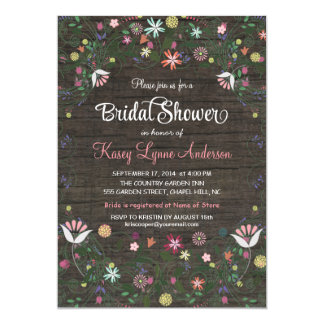 "Floral Wreath Rustic WoodBridal Shower Invitations 5"" X 7"" Invitation Card"