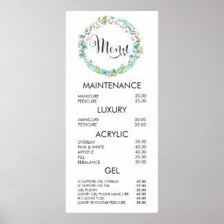 Floral Wreath Salon Menu Price List Wall Poster