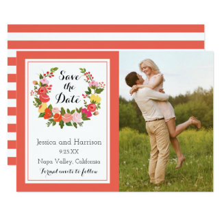 Floral Wreath - Save The Date Card