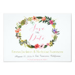 Floral Wreath Save the Date Card Personalized Announcement