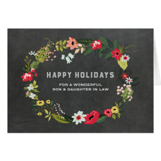 Floral Wreath Son & Daughter in Law Christmas Card