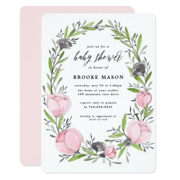 Toddler & Baby themed Floral Wreath Spring Baby Shower Invitation