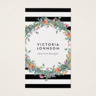 Floral wreath stripes circle frame business card