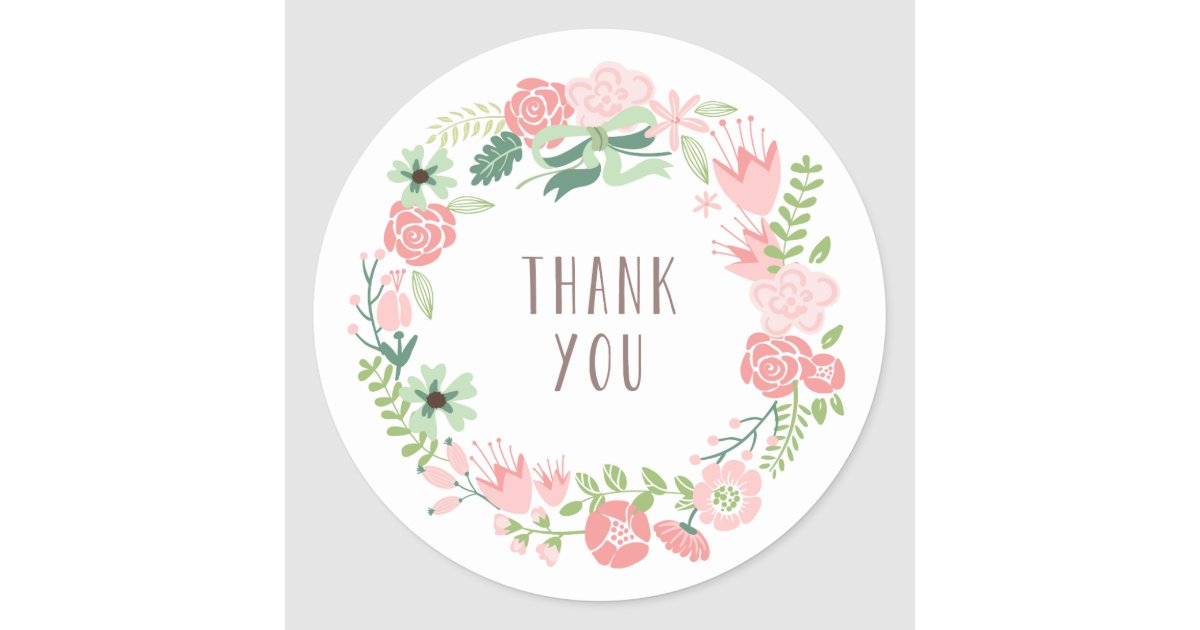 Floral Wreath Thank You Stickers Zazzle Com