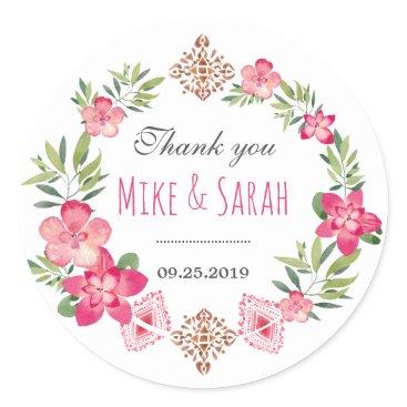 raindwops Floral Wreath Tribal Pattern Wedding Favor Sticker
