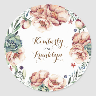 floral wreath vintage fall watercolor wedding classic round sticker
