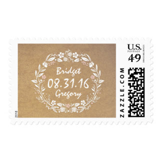 floral wreath vintage wedding postage