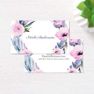 Floral Wreath Watercolor Elegant Chic Flowers Business Card