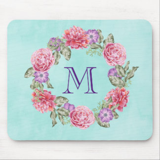 Floral Wreath Watercolor Flowers Custom Monogram Mouse Pad