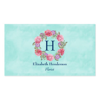 Floral Wreath Watercolor Flowers Pink and Purple Business Card