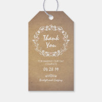 Floral Wreath Wedding Gift Tags