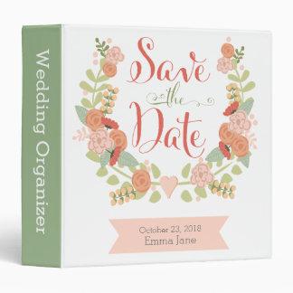 Floral Wreath Wedding Organizer 3 Ring Binders